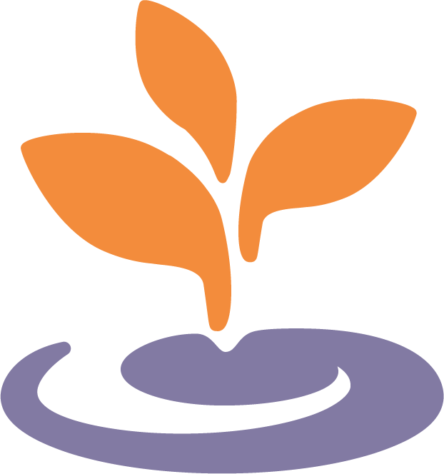 Orange and light purple sprout of BARCC logo