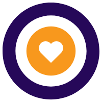 Purple ring with orange heart outline in middle