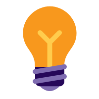 Purple and orange lightbulb