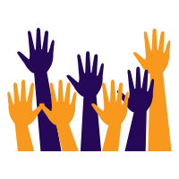 Orange and purple raised hands