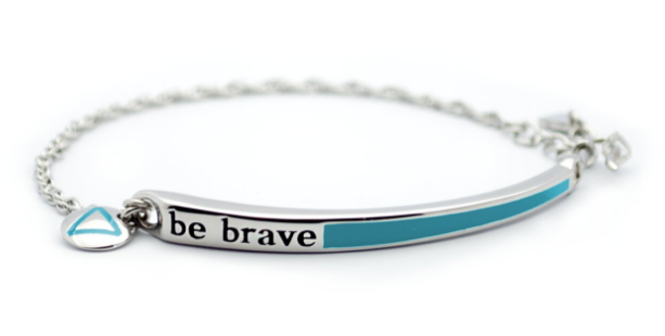 Bravelets bracelet in silver with teal color and Be Brave