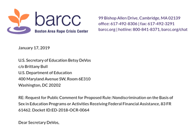BARCC letterhead with the beginning of BARCC's public comment opposing changes to Title IX
